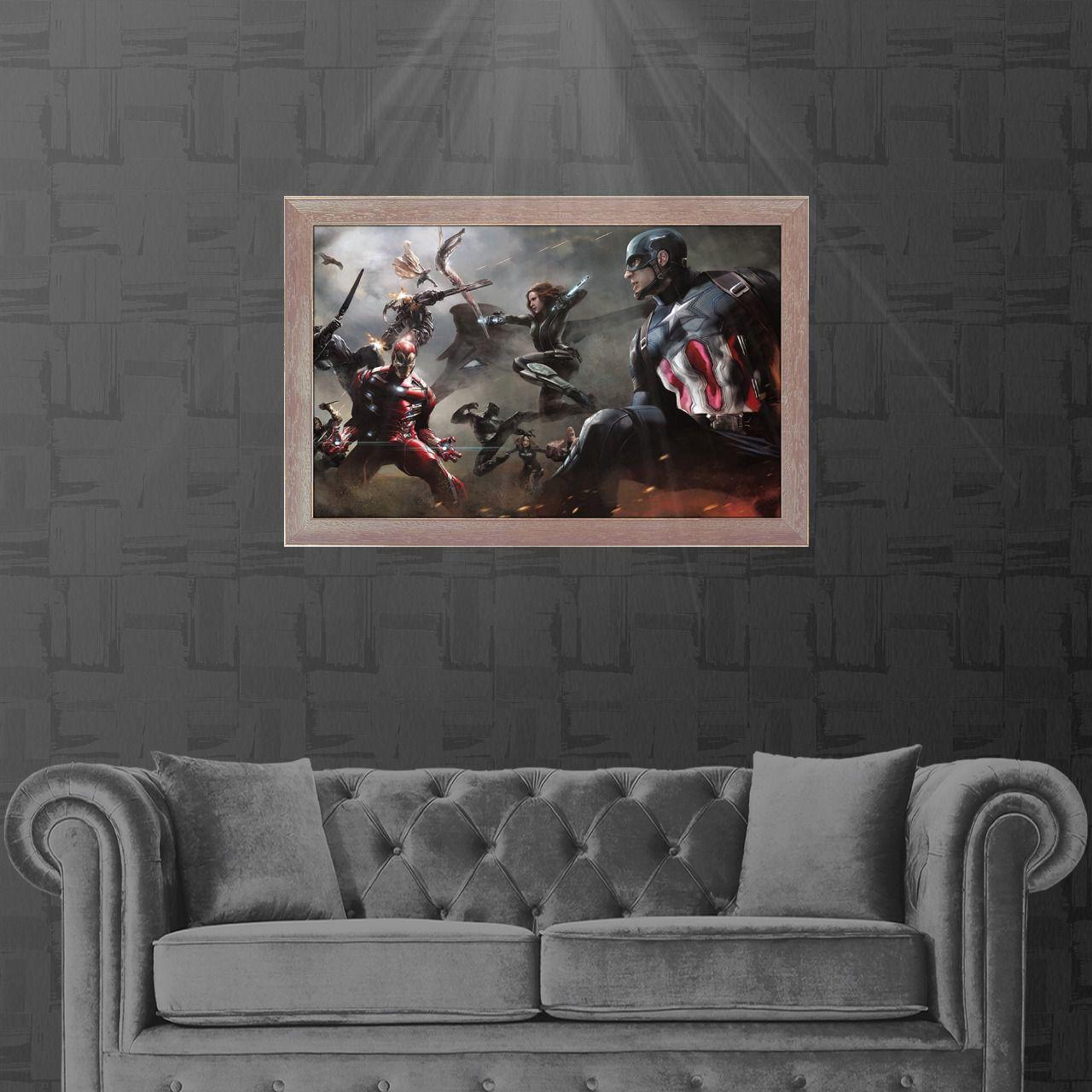 Tela com Moldura (Quadro Canvas Com Frame): Arte de Divulgação Capitão América Guerra Civil (Civil War) Marvel (Art Premium)