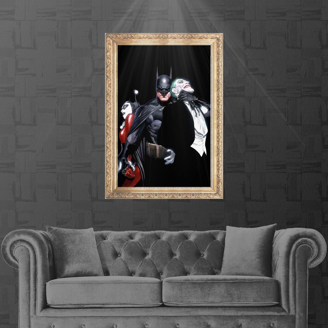 Tela com Moldura (Quadro Canvas com Frame) Batman,Joker & Harley Quinn (Alex Ross) DC Comics (Art Premium)