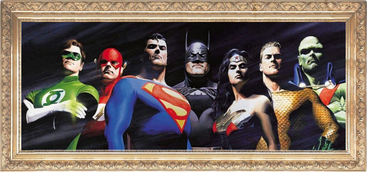 Tela com Moldura (Quadro Canvas com Frame) Liga da Justiça (Justice League) Alex Ross: DC Comics (Art Premium)