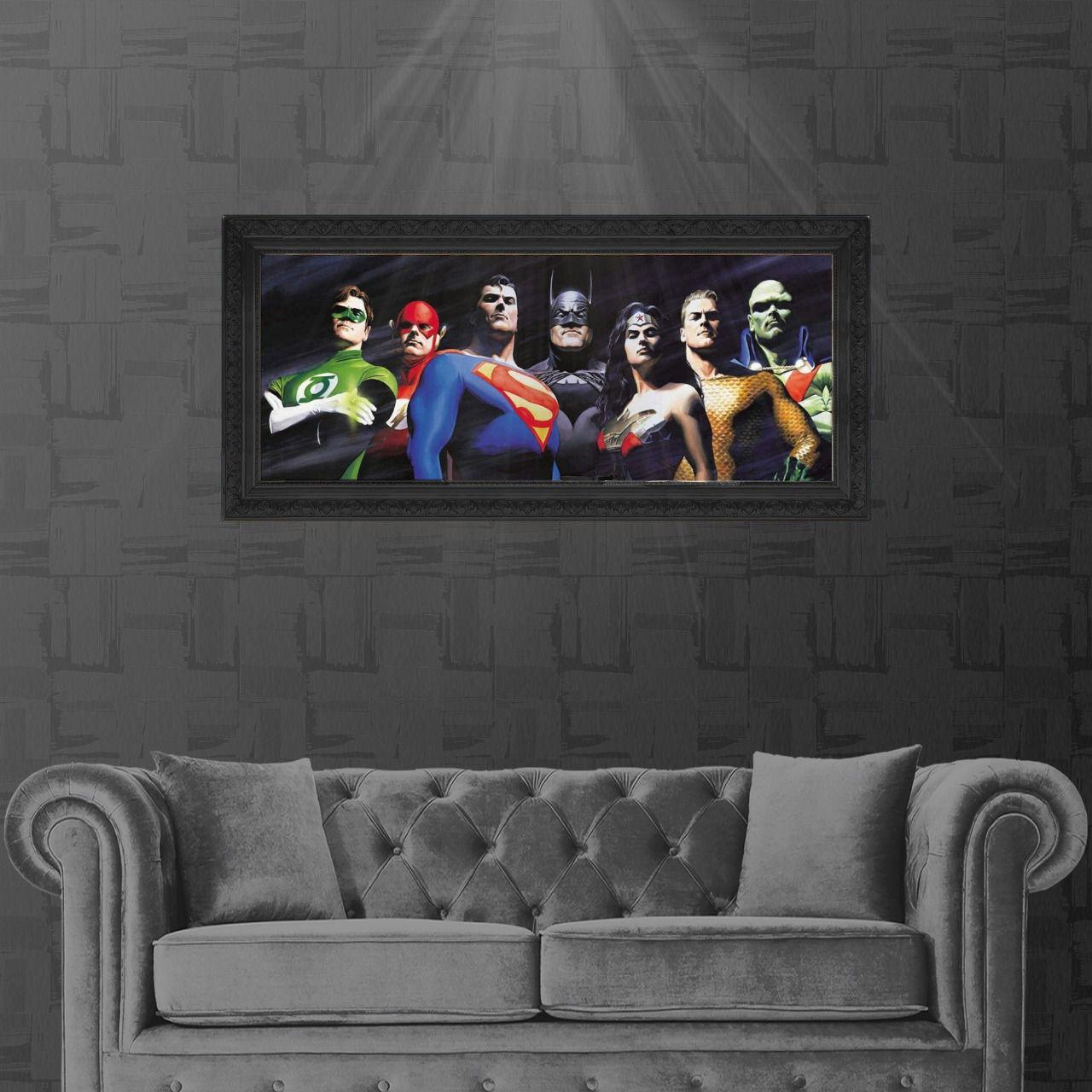 Tela com Moldura (Quadro Canvas com Frame) Liga da Justiça (Justice League) Alex Ross: DC Comics (Art Premium) - (60x114)