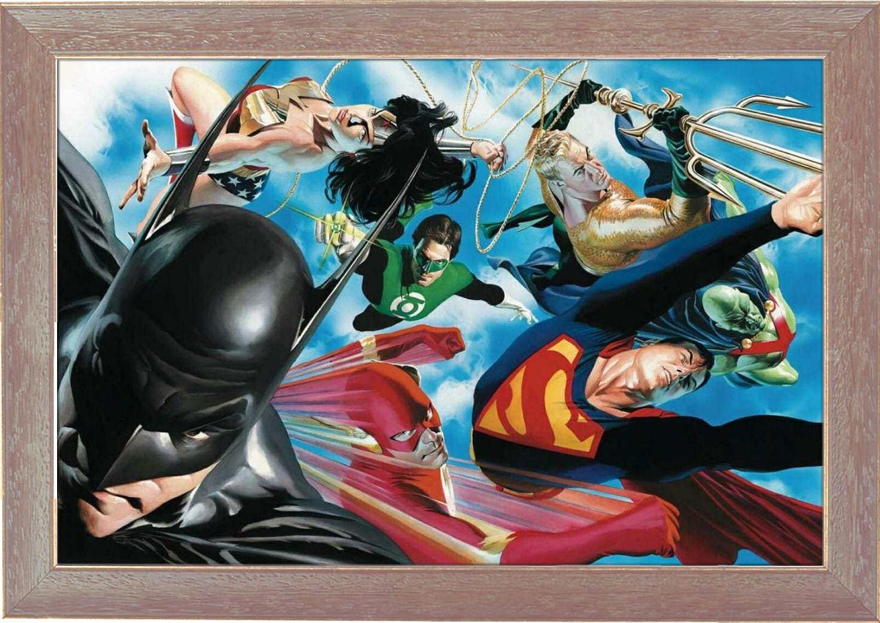 """Tela com Moldura (Quadro Canvas Com Frame) Liga da Justiça (Justice League) """"Os Maiores Super-heróis do Mundo"""" (Alex Ross): DC Comics (Art Premium)"""