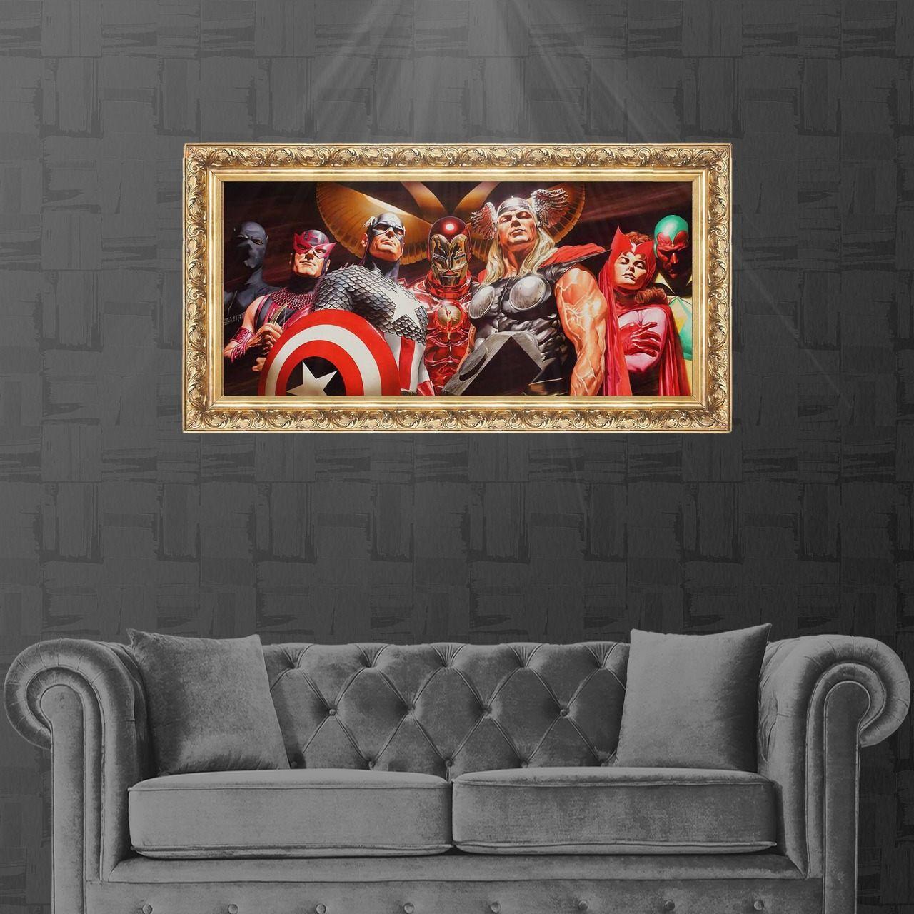 Tela com Moldura (Quadro Canvas com Frame) Vingadores (Avengers) Alex Ross: Marvel Comics (Art Premium)