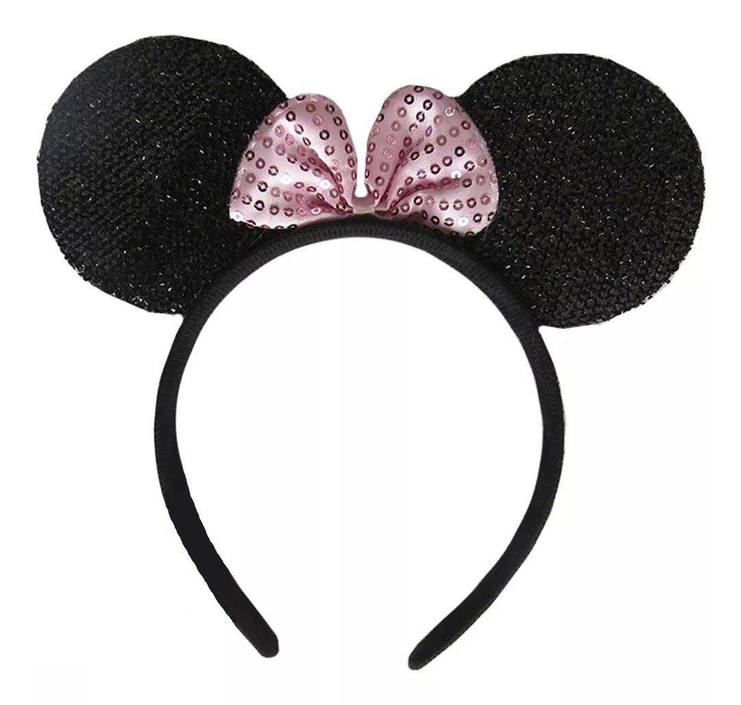 Tiara Orelhas Minnie Mouse (Com Brilho): Disney (Rosa) (Acessório Fantasia)