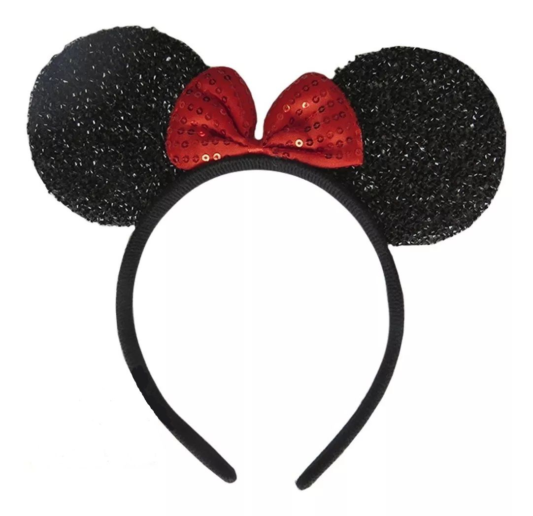 Tiara Orelhas Minnie Mouse (Com Brilho): Disney (Vermelho) (Acessório Fantasia)