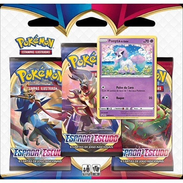 Triple Pack Card Pokémon Espada e Escudo Ponyta de Galar - Pokémon