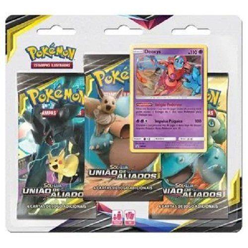 Triple Pack Card Pokémon: Sol e Lua União de Aliados