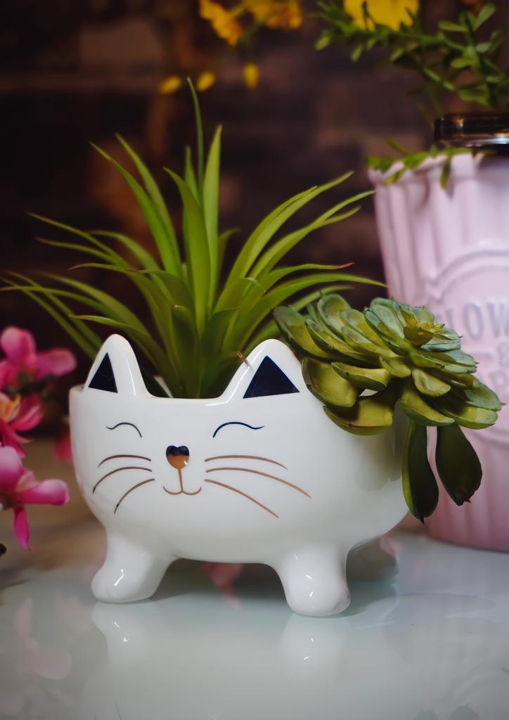 Vaso Planta Cachepot Pet Gato Gatinho Branco e Dourado