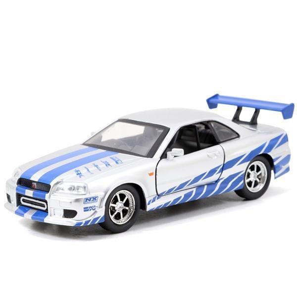 Velozes e Furiosos: Brian`s 2002 Nissan Skyline GT-R (R34) Die Cast Escala 1/32