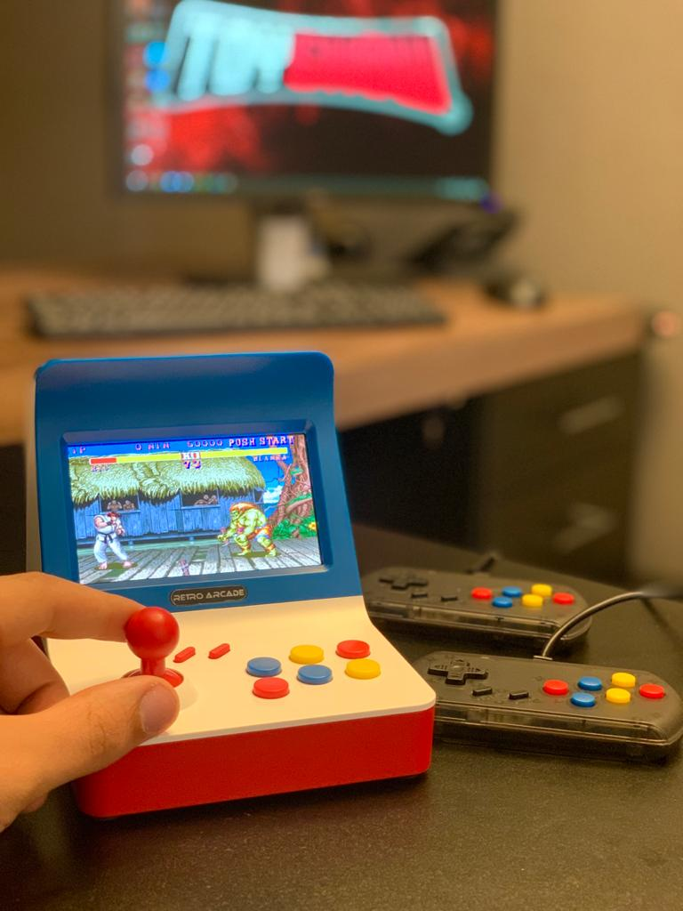 Video Game Retro Arcade Mini Fliperama 3000 Jogos Tela 4.3  - (2 Controles)