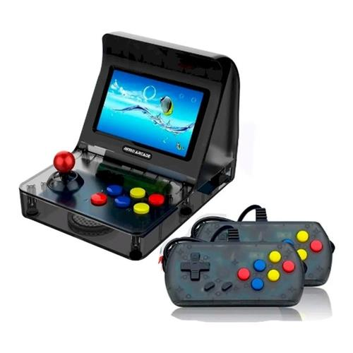 Video Game Retro Arcade Mini Fliperama 3000 Jogos Tela 4.3 Preto - (2 Controles)