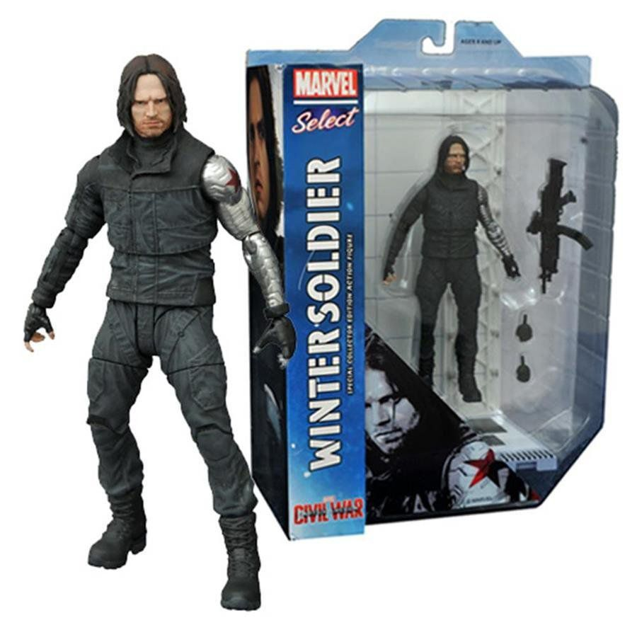 Boneco Soldado Invernal (Winter Soldier): Capitão América: Guerra Civil Marvel Select - Diamond Select