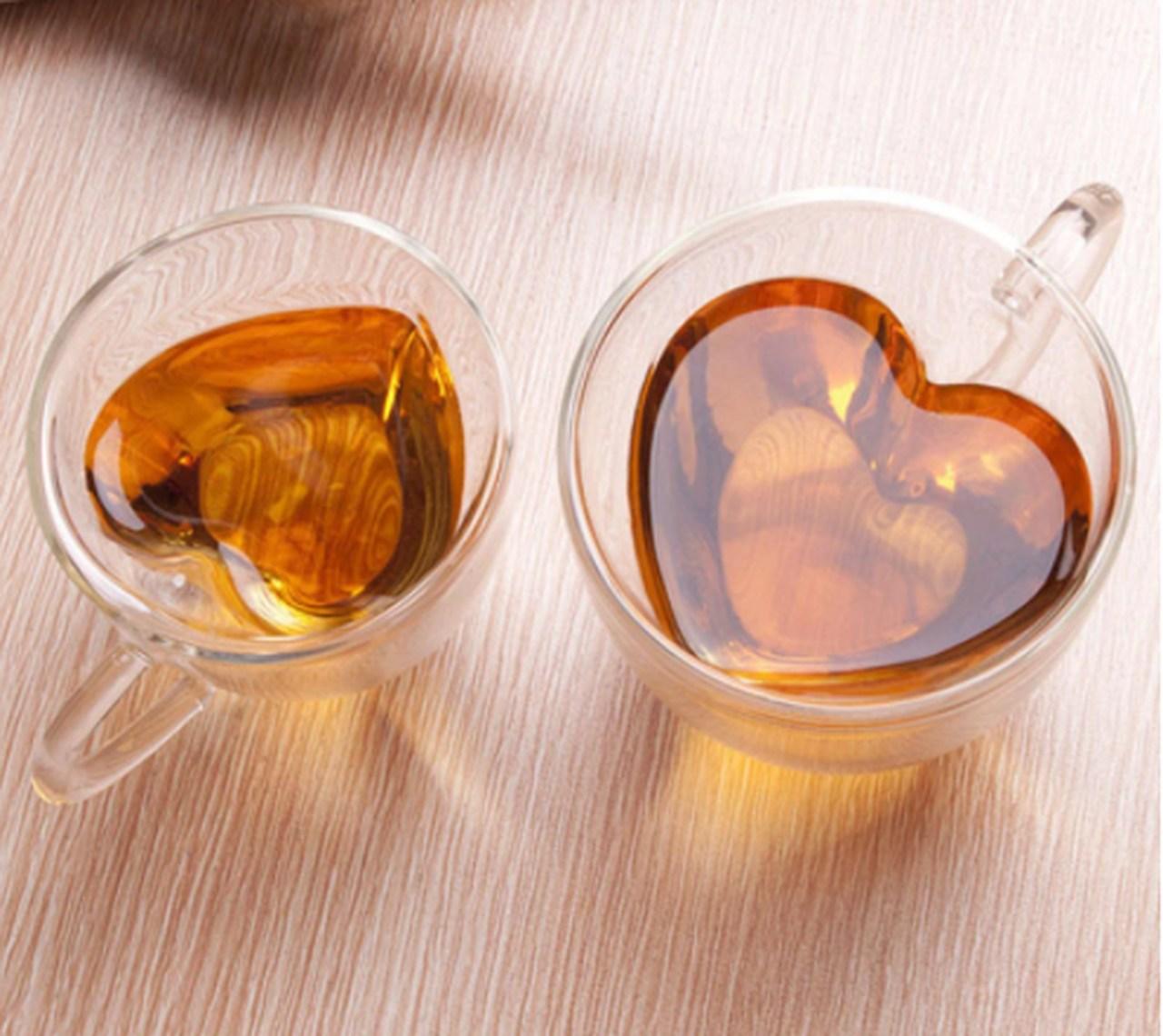 Xícara de Café Criativa em Forma de Coração Transparente 180ml - MKP