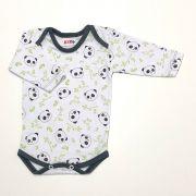 Body Estampado Panda Verde Oliva Fd. Branco