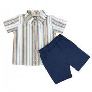 Conjunto 02 Peças Shorts Azul Jeans,Camisa Listrada Amarela