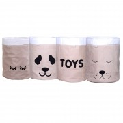 Conjunto de Cestos Organizadores Para Brinquedos Cáqui com Cru