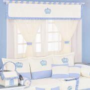Cortina de Voil c/ Forro Kit Realeza Azul