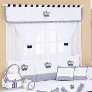 Cortina de Voil c/ Forro Kit Realeza Marinho