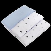 Jogo de Lençol 02 Peças para Berço Poá Preto com Fronha Azul