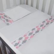 Jogo de Lençol Nuvem Rosa com Cinza 03 Peças