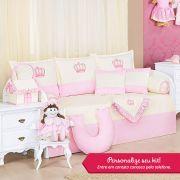 Kit Bicama Personalizado Realeza Rosa 08 Peças