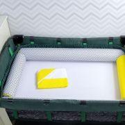 Kit de Berço Desmontável 07 Peças Chevron Cinza com Um Rolo Amarelo