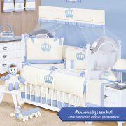 Kit de Berço Personalizado Realeza Azul 09 Peças