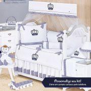 Kit de Berço Personalizado Realeza Marinho 09 Peças