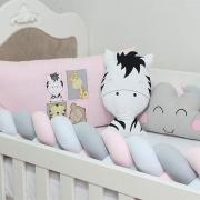 Kit de Berço Trança Amiguinhos Baby Zoo Rosa 08 Peças
