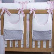 Porta Fraldas de Varão 02 Peças Cinza Silk com Rosa