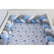 Protetor de Berço em Trança Azul Bebê,Cinza Mescla e Branco 4m