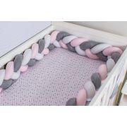 Protetor de Berço em Trança Rosa Bebê,Cinza Mescla e Branco 4m