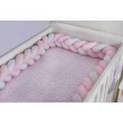 Protetor de Berço  em Trança Rosa Bebê e Branco 4m
