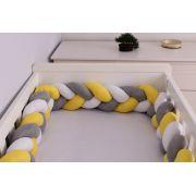 Protetor de Berço em Trança Amarelo Ouro,Cinza Mescla e Branco 4m