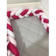 Protetor de Berço em Trança Pink,Rosa Bebê e Branco 4m
