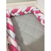 Protetor de Berço  em Trança Rosa Chiclete,Rosa Bebê e Branco 4m