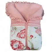 Saco de Dormir Rosa Floral com Detalhe em Renda