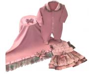 Saída Maternidade Elegance Rosê 04 Peças