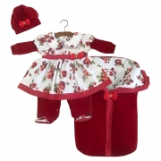 Saída Maternidade Vermelho Floral 03 Peças