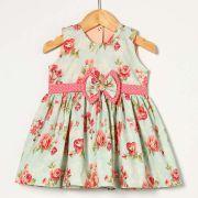 Vestido Floral com Póa Rosa