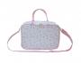 Bolsa Maternidade Frasqueira Tecido Triângulo Branco com Rosa M