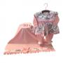 Saída Maternidade Rosa Coral Floral 03 Peças