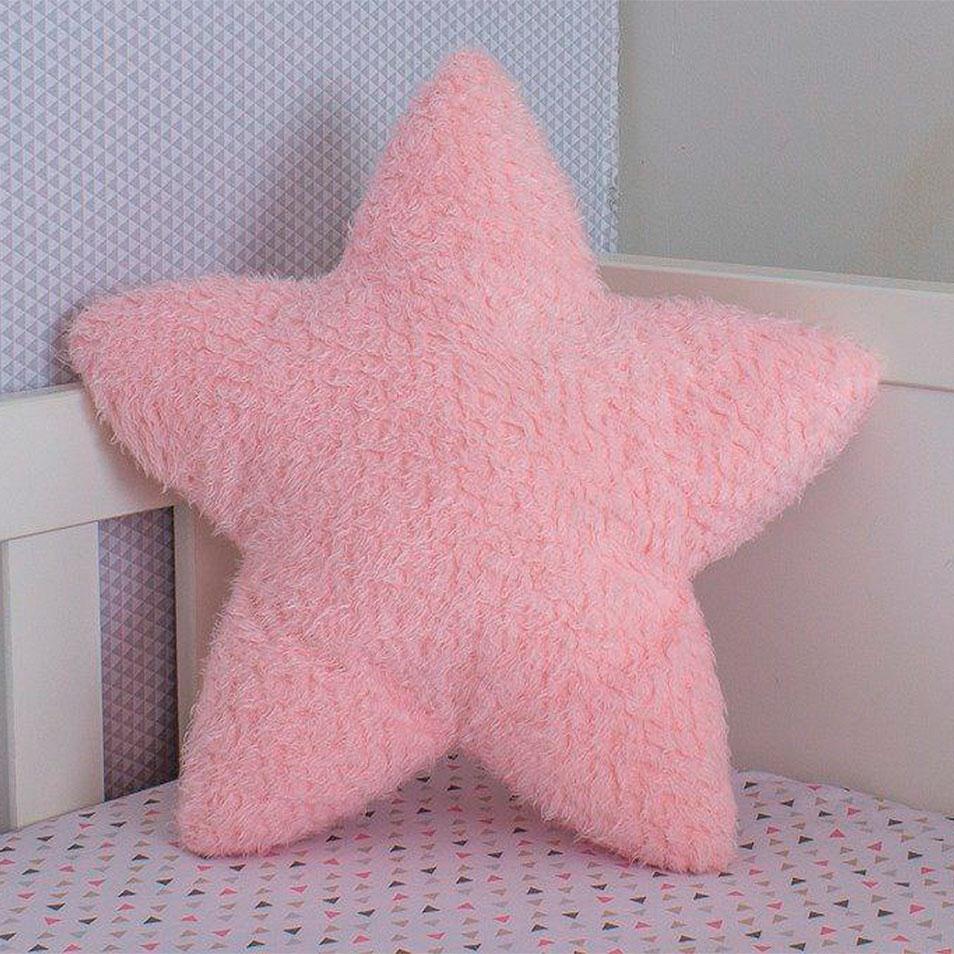 Almofada Felpuda Estrela Rosa
