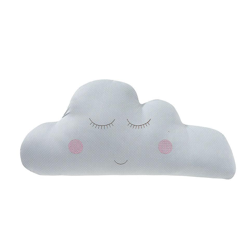 Almofada Nuvem Poá Cinza com Rosa