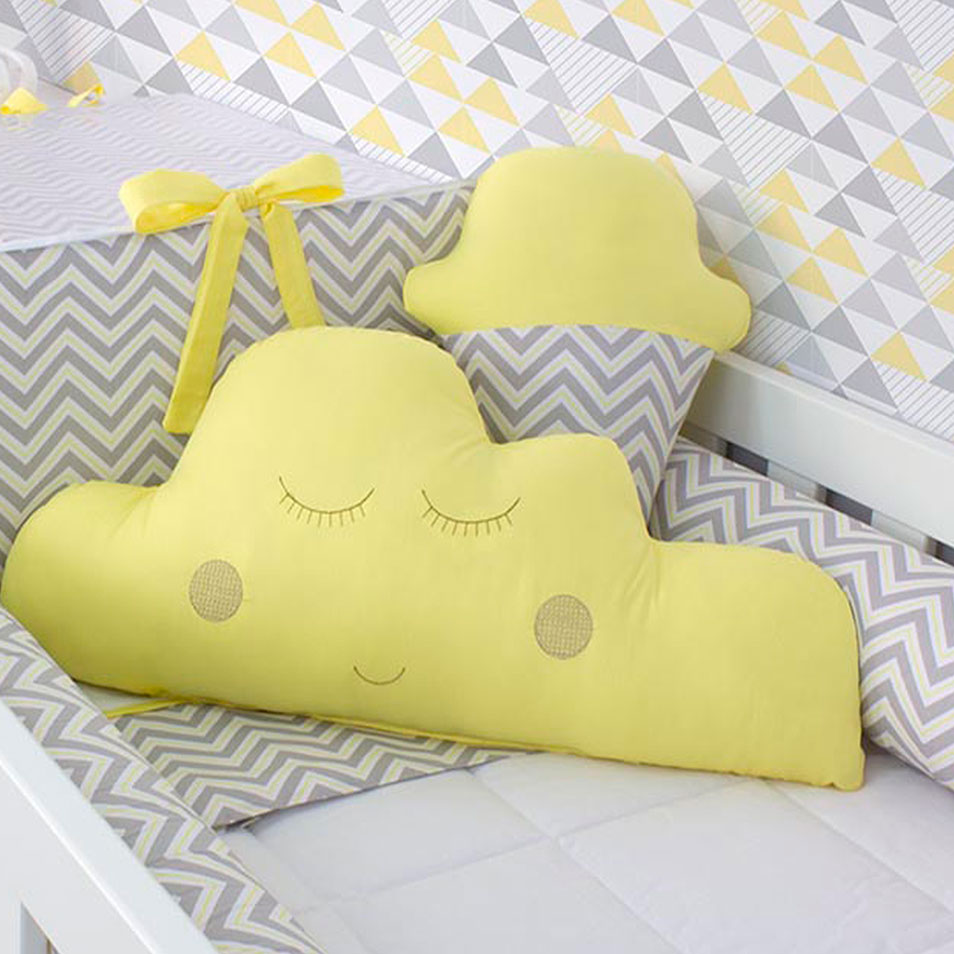 Almofada Sorvete Chevron Cinza com Amarelo  - Toca do Bebê
