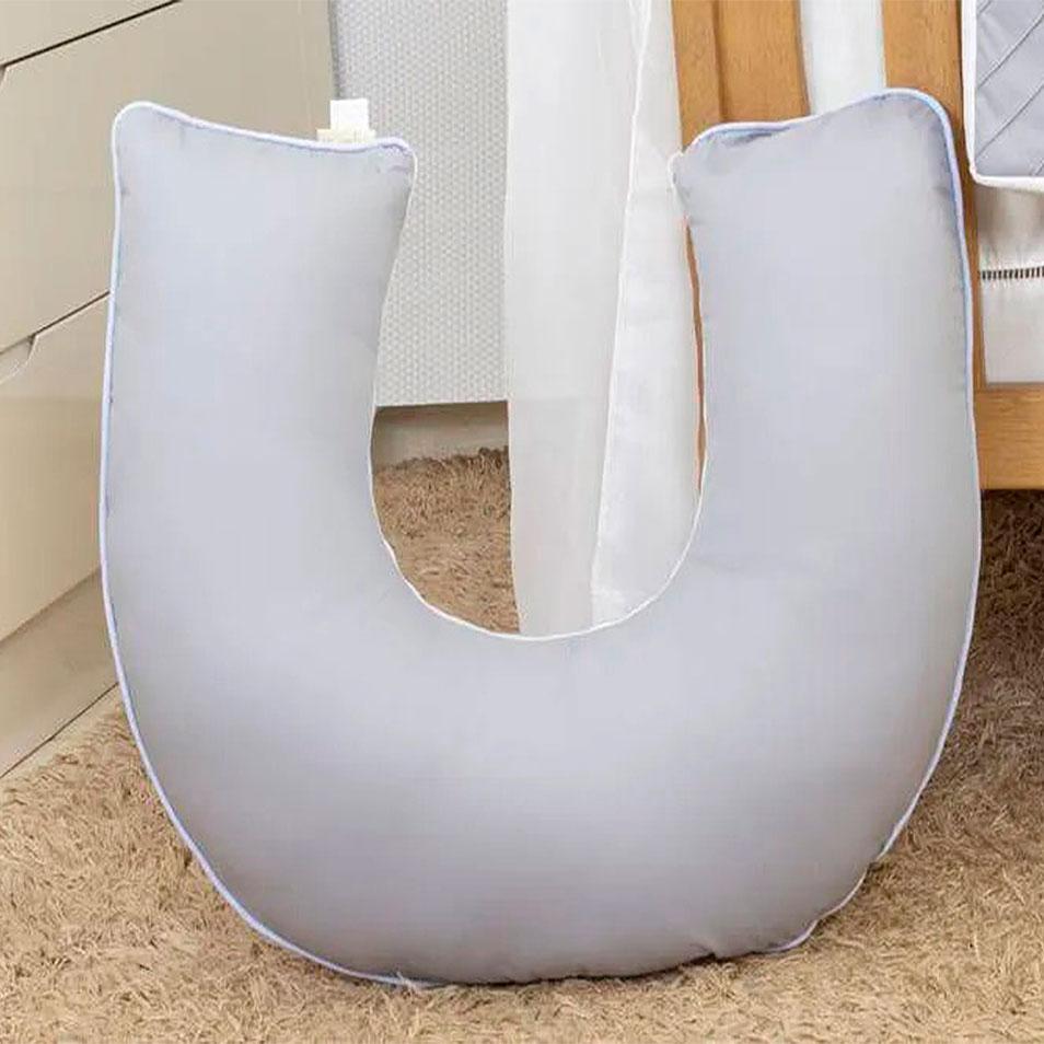 Apoio para Amamentar Cinza Silk com Azul   - Toca do Bebê