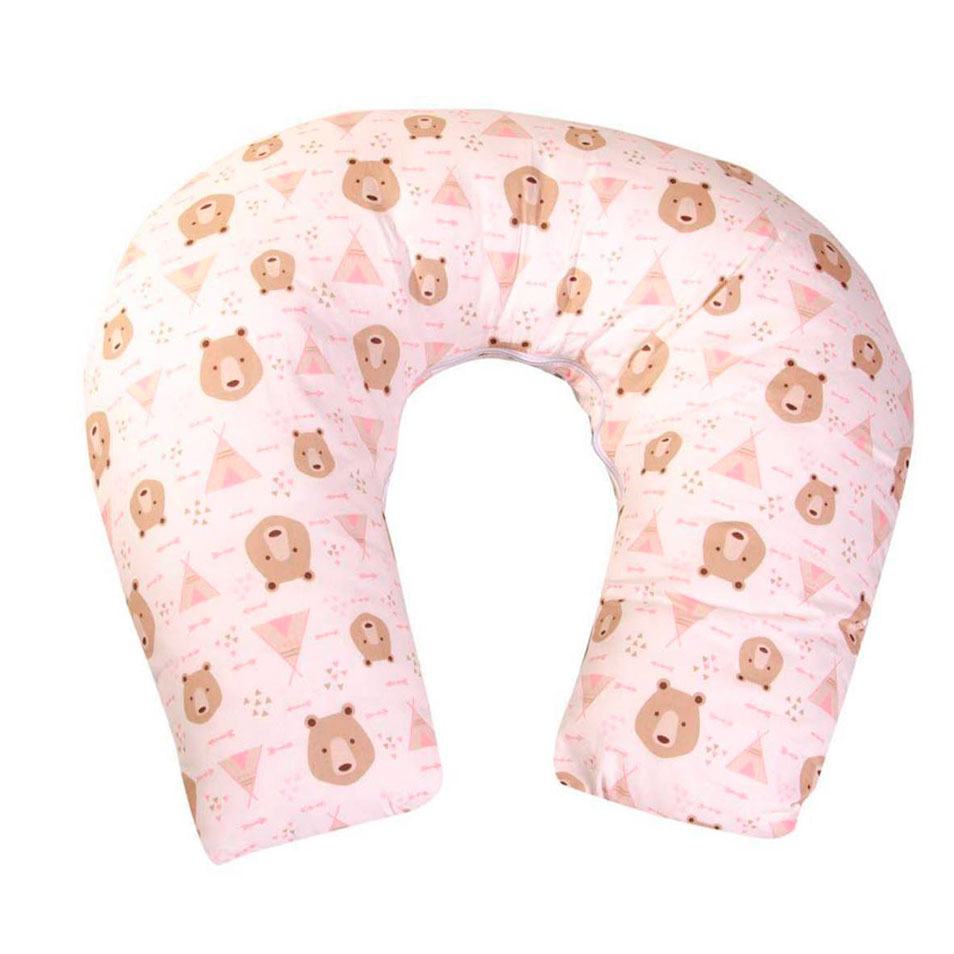 Apoio para Amamentar Urso Cabana Rosa