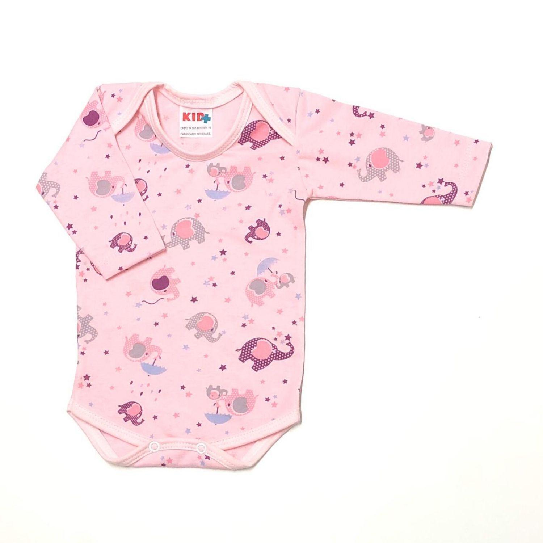Body Estampado Elefante Poá Roxo Fd. Rosa  - Toca do Bebê