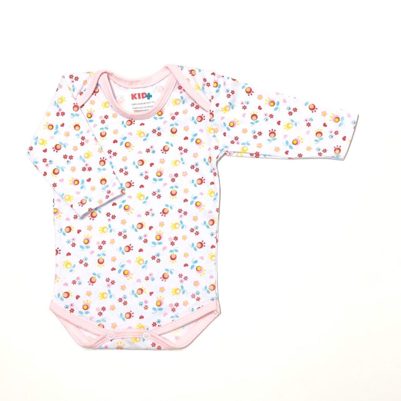 Body Estampado Mini Flor Vermelha Fd. Branco  - Toca do Bebê