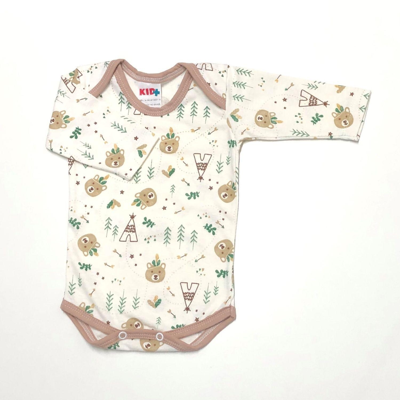 Body Estampado Urso Índio Verde Fd. Off White  - Toca do Bebê
