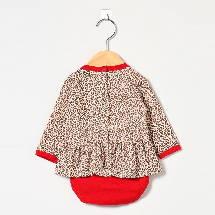 Body Feminino em Malha Oncinha Palha/Vermelho Carol  - Toca do Bebê